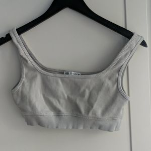 Knit cropped tank top waffle material